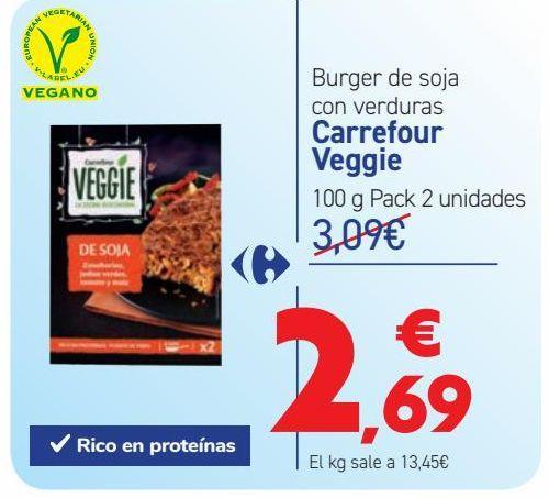 Oferta de Burger de soja con verduras Carrefour Veggie por 2,69€
