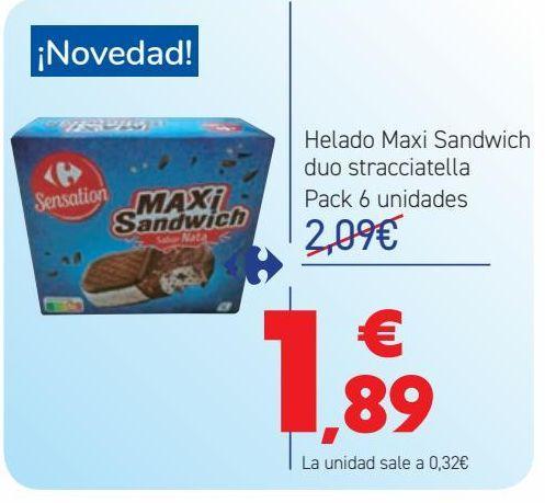 Oferta de Helado Maxi Sandwich duo stracciatella  por 1,89€