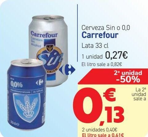 Oferta de Cerveza sin o 0,0 Carrefour  por 0,27€