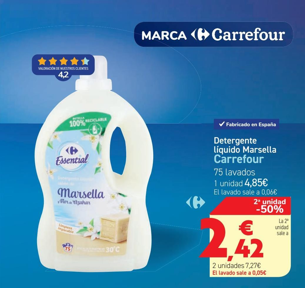 Oferta de Detergente líquido Marsella Carrefour  por 4,85€