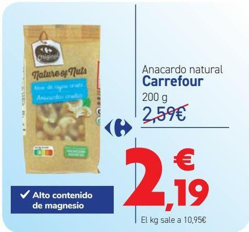 Oferta de Anacardo natural Carrefour por 2,19€