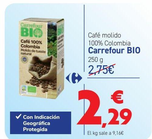 Oferta de Café molido 100% Colombia Carrefour BIO por 2,29€