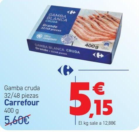 Oferta de Gamba cruda 32/48 piezas Carrefour  por 5,15€
