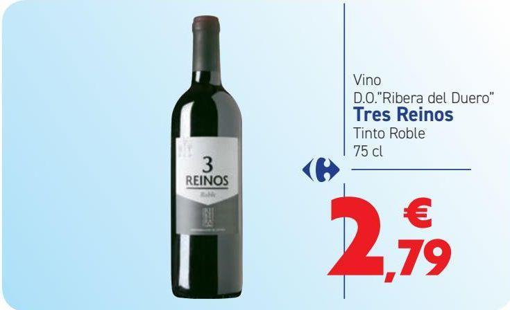 Oferta de Vino D.O. ''Ribera del Duero'' Tres Reinos Tinto Roble  por 2,79€