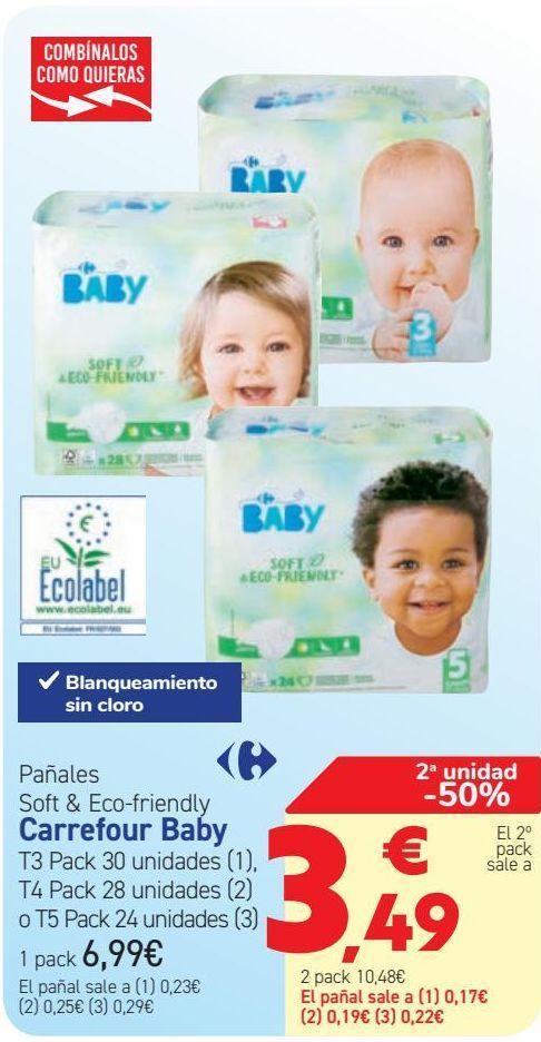 Oferta de Pañales Soft & Eco-Friendly Carrefour Soft  por 6,99€