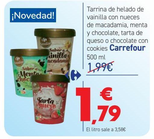 Oferta de Tarrina de helado de vainilla con nueces de macadamia, menta y chocolate, tarta de queso o chocolate con cookies Carrefour  por 1,79€