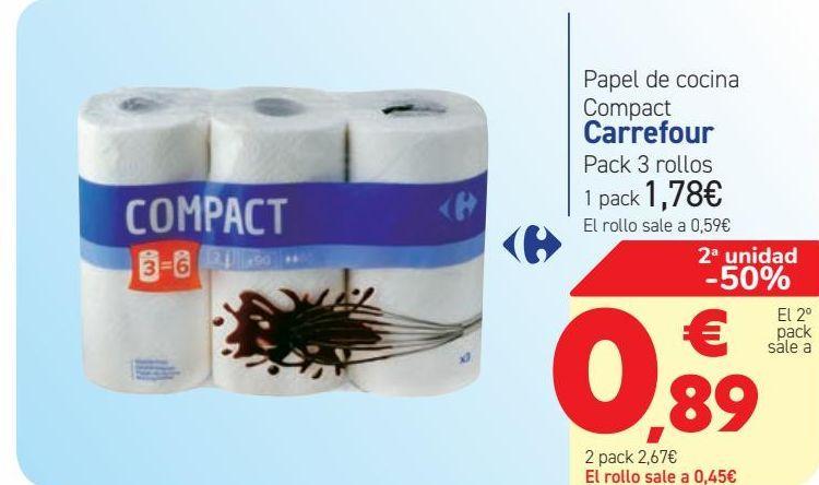 Oferta de Papel de cocina Compact Carrefour  por 1,78€