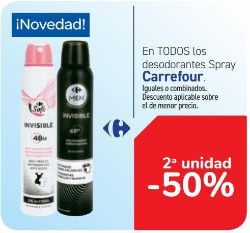Oferta de En TODOS los desodorantes Spray Carrefour  por