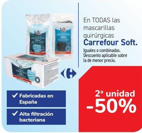 Oferta de En TODAS las mascarillas quirúrgica Carrefour Soft  por