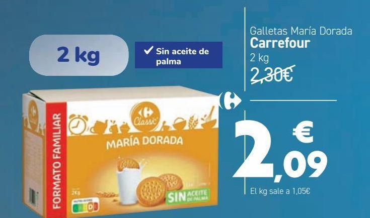 Oferta de Galletas María Dorada Carrefour  por 2,09€