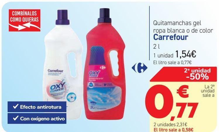 Oferta de Quitamanchas gel ropa blanca o de color Carrefour  por 1,54€