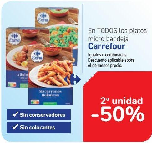 Oferta de En TODOS los platos micro bandeja Carrefour por