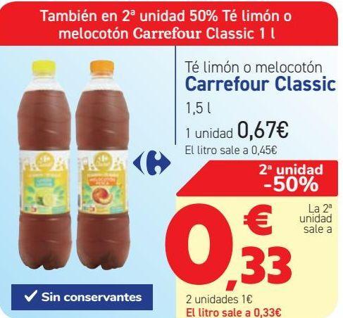 Oferta de Té limón o melocotón Carrefour Classic  por 0,67€