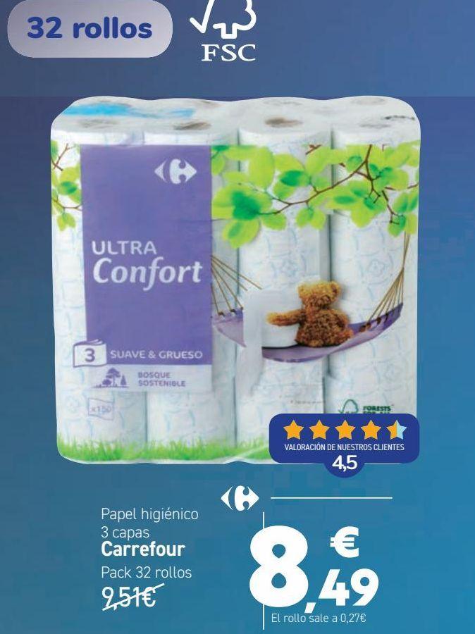 Oferta de Papel higiénico 3 capas Carrefour  por 8,49€