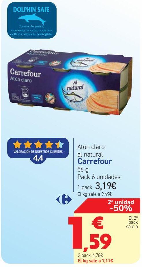 Oferta de Atún claro al natural Carrefour  por 3,19€