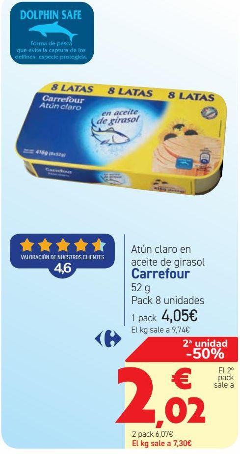 Oferta de Atún claro en aceite de girasol Carrefour  por 4,05€