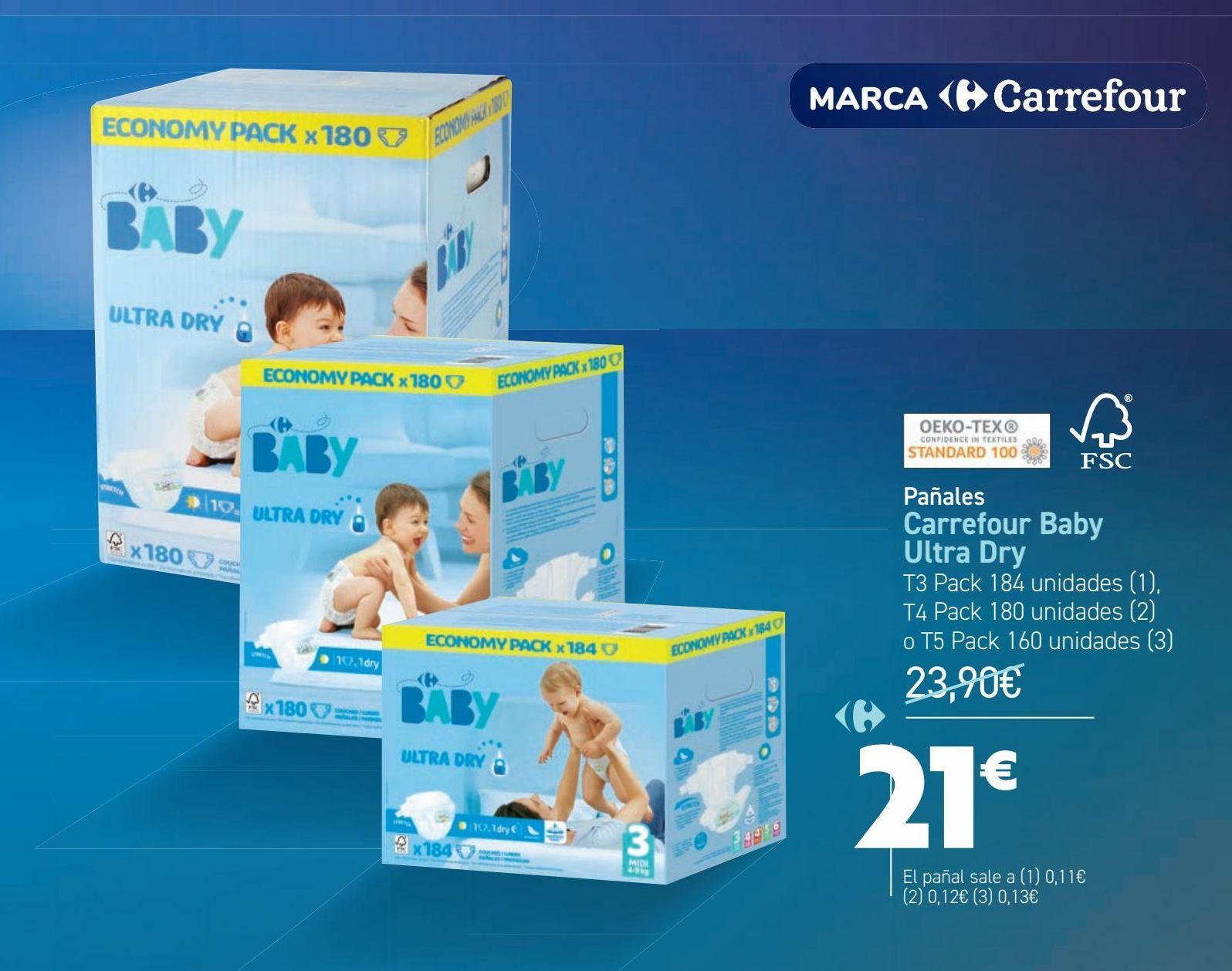 Oferta de Pañales Carrefour Baby Ultra Dry  por 21€