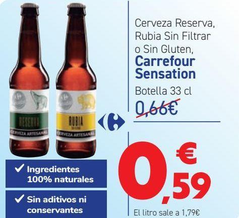 Oferta de Cerveza Reserva Rubia sin Filtrar o sin Gluten Carrefour Sensation  por 0,59€