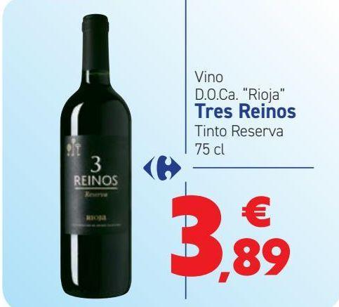 Oferta de Vino D.O.Ca ''Rioja'' Tres Reinos Tinto Reserva  por 3,89€