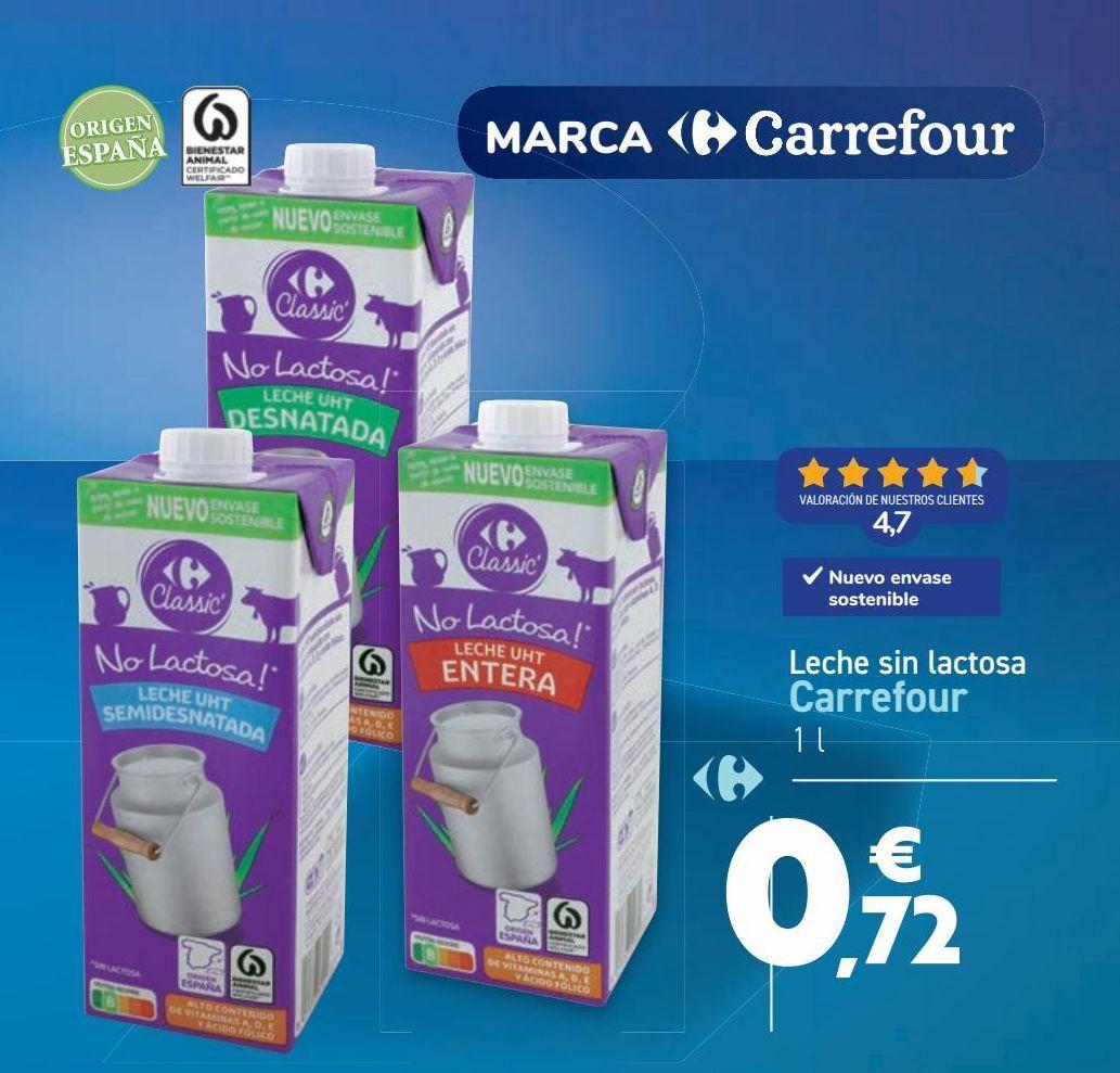 Oferta de Leche sin lactosa Carrefour  por 0,72€