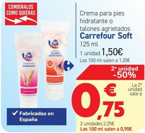 Oferta de Crema para pies hidratante o talones agrietados Carrefour Soft  por 1,5€