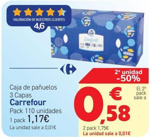 Oferta de Caja de pañuelos 3 capas Carrefour  por 1,17€