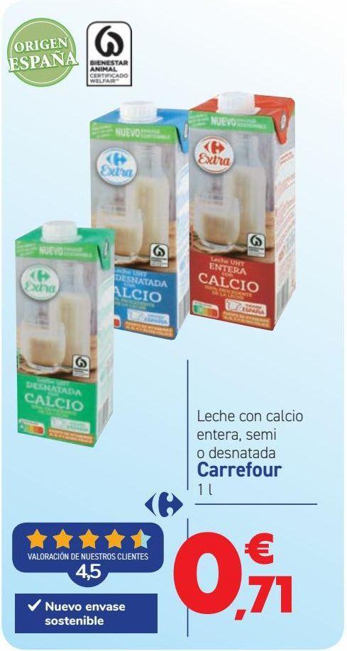 Oferta de Leche con calcio entera, semi o desnatada Carrefour por 0,71€
