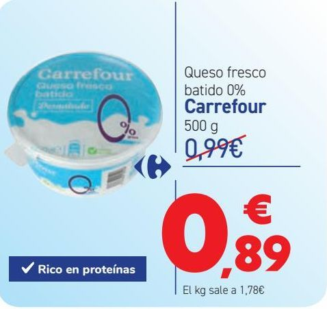 Oferta de Queso fresco batido 0% Carrefour por 0,89€
