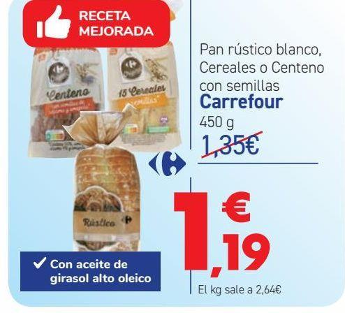 Oferta de Pan rústico blanco, Cereales o Centeno con semillas Carrefour por 1,19€
