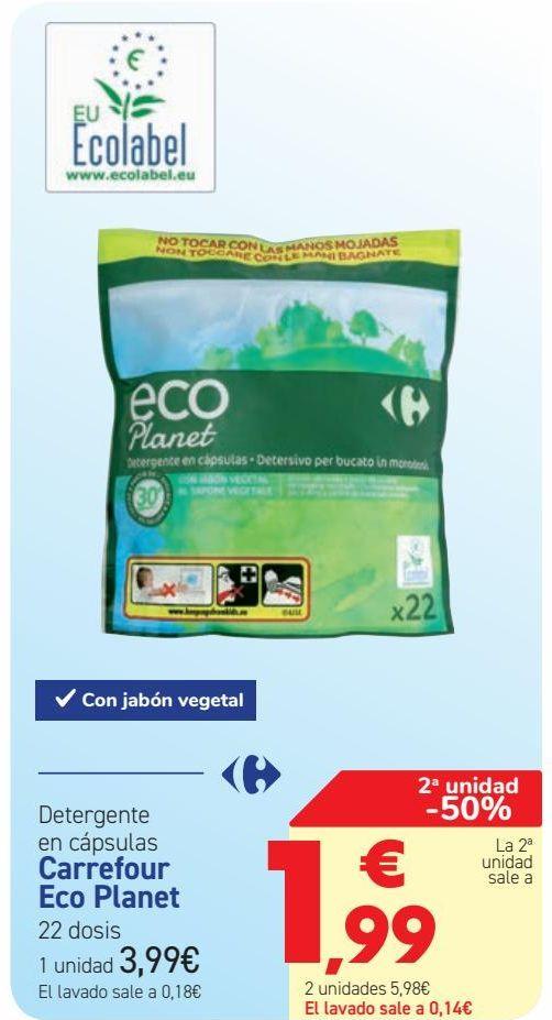 Oferta de Detergente en cápsulas Carrefour Eco Planet  por 3,99€