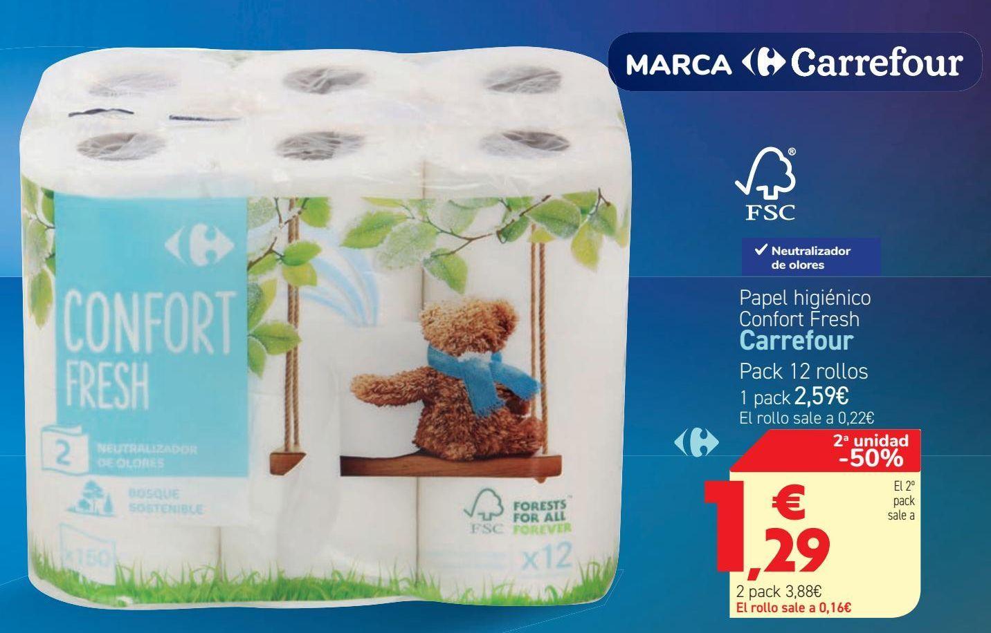 Oferta de Papel higiénico Confort Fresh Carrefour  por 2,59€