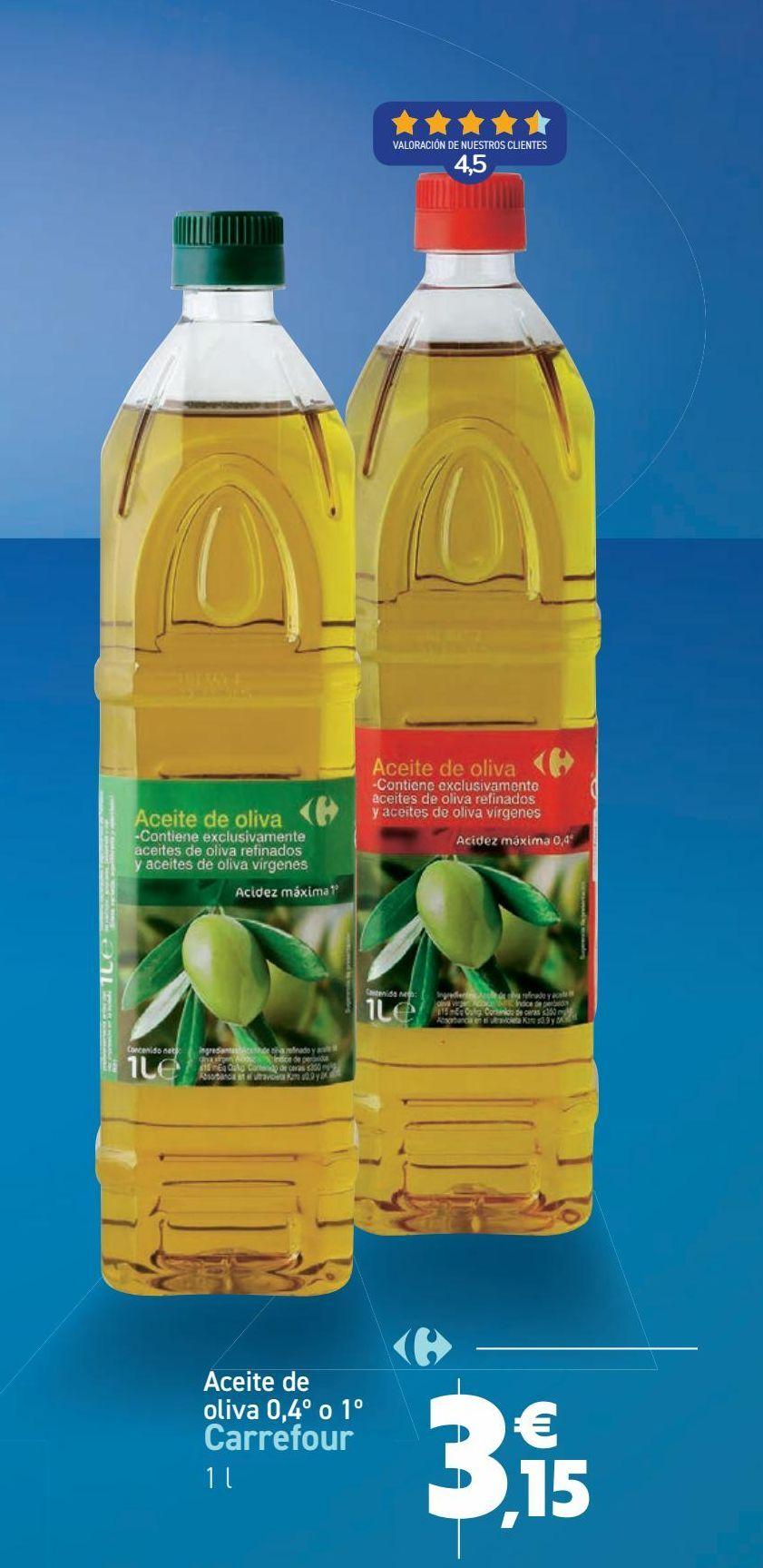 Oferta de Aceite de oliva 0,4º o 1º Carrefour por 3,15€