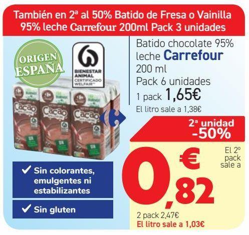 Oferta de Batido chocolate 95% leche Carrefour  por 1,65€