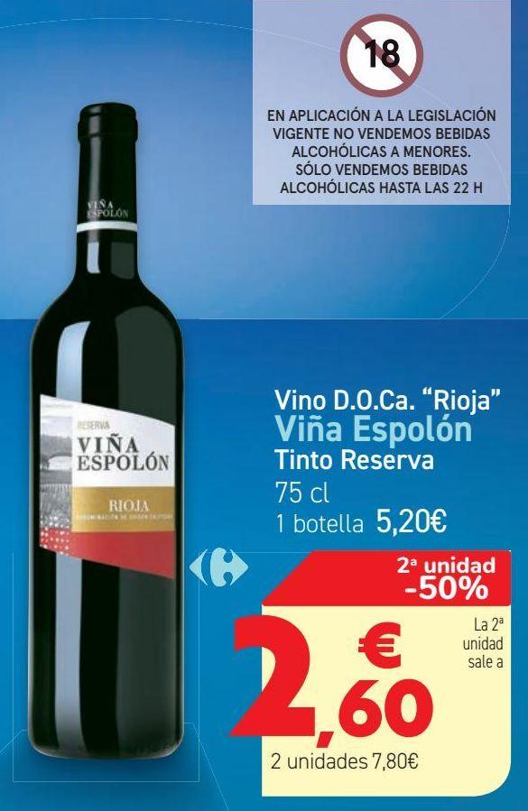 Oferta de Vino D.O.Ca ''Rioja'' Viña Espolón Tinto Reserva  por 5,2€