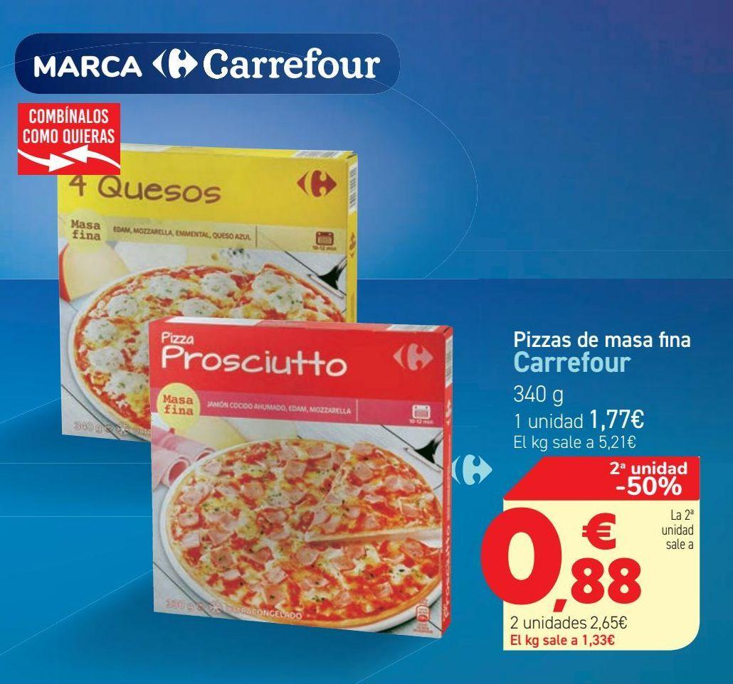 Oferta de Pizzas de masa fina Carrefour  por 1,77€