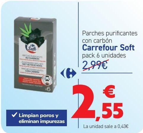 Oferta de Parches purificantes con carbón Carrefour Soft  por 2,55€