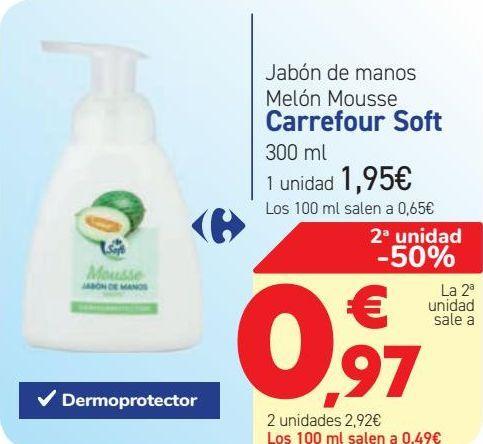 Oferta de Jabón de manos Melón Mousse Carrefour Soft  por 1,95€