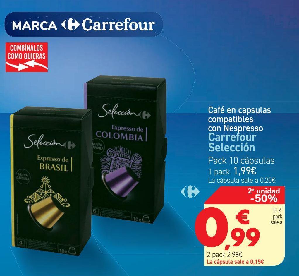 Oferta de Café en capsulas compatibles con Nespresso Carrefour Selección por 1,99€