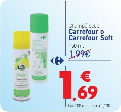 Oferta de Champú seco Carrefour o Carrefour Soft  por 1,69€