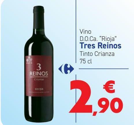 Oferta de Vino D.O.Ca ''Rioja'' Tres Reinos Tinto Crianza  por 2,9€