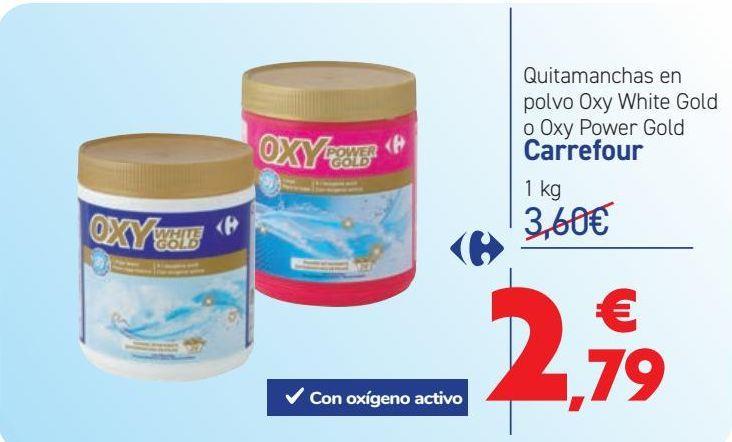 Oferta de Quitamanchas en polvo Oxy White Gold o Oxy Power Gold Carrefour  por 2,79€
