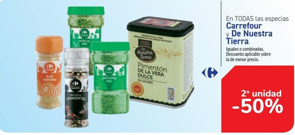 Oferta de En TODAS las especias Carrefour y De Nuestra Tierra  por