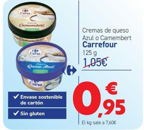 Oferta de Cremas de queso Azul o Camembert Carrefour por 0,95€