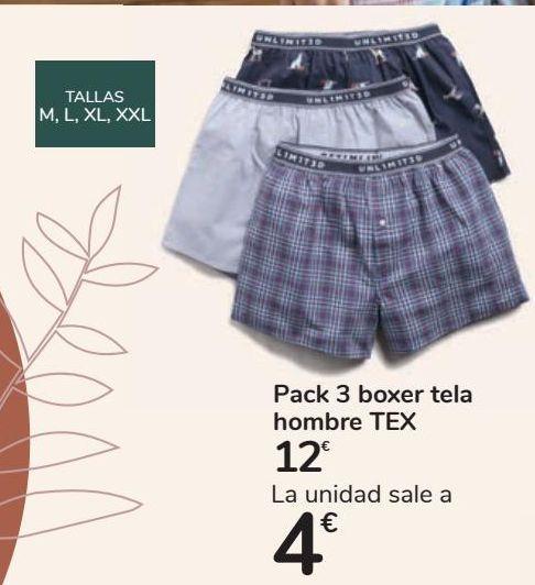 Oferta de Pack 3 boxer tela hombre TEX por 12€