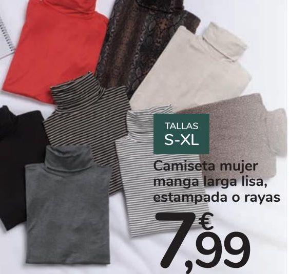 Oferta de Camiseta mujer manga larga lisa, estampada o rayas por 7,99€