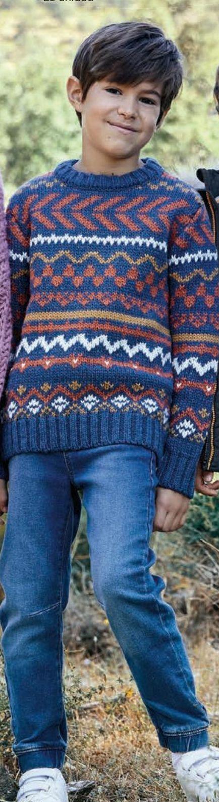 Oferta de Jersey grecas, sudadera contraste, pantalón denim por 15€