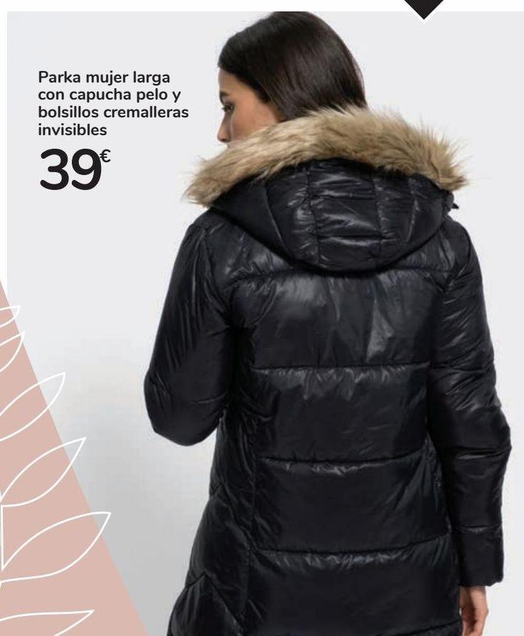Oferta de Parka mujer larga con capucha pelo y bolsillos cremalleras invisibles por 39€