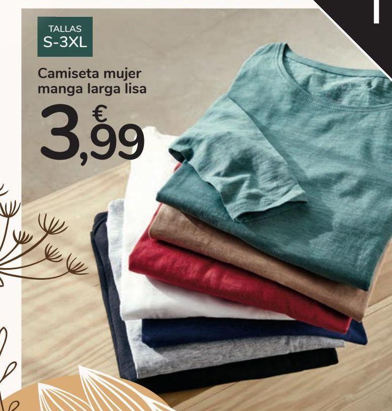 Oferta de Camiseta mujer manga larga lisa por 3,99€