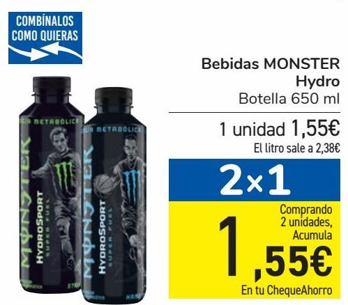 Oferta de Bebidas MONSTER Hydro  por 1,55€