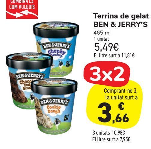 Oferta de Tarrinas de helados BEN & JERRY'S por 5,49€